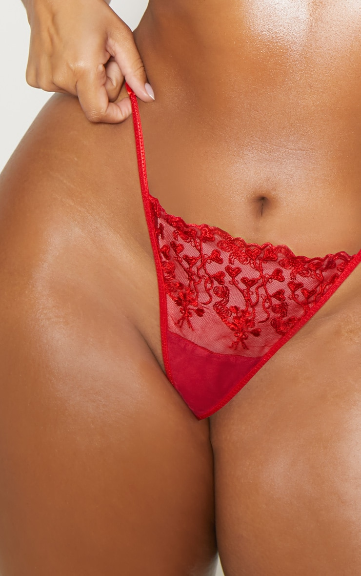 Plus Red Delicate Heart Strappy Thong  3