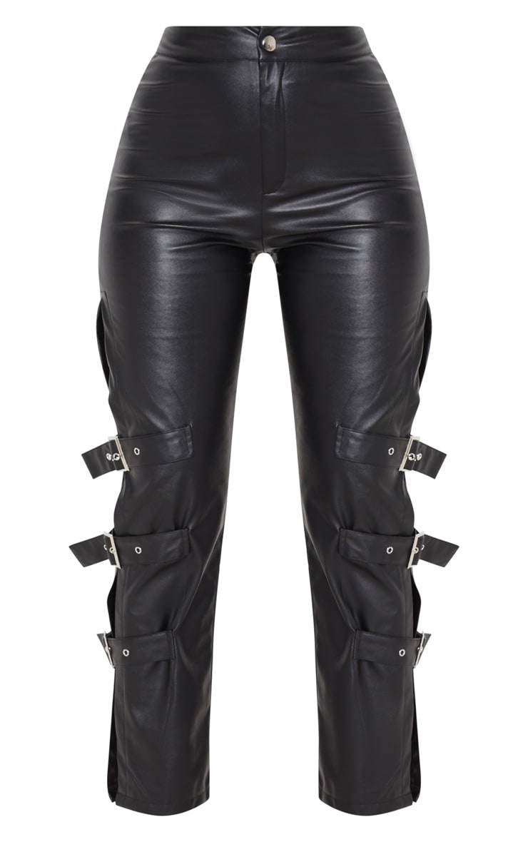 Black Faux Leather Buckle Strap Detail Trousers 3