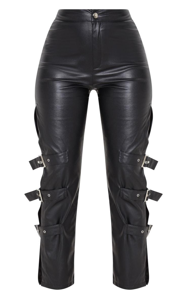 Black Faux Leather Buckle Strap Detail Pants 3