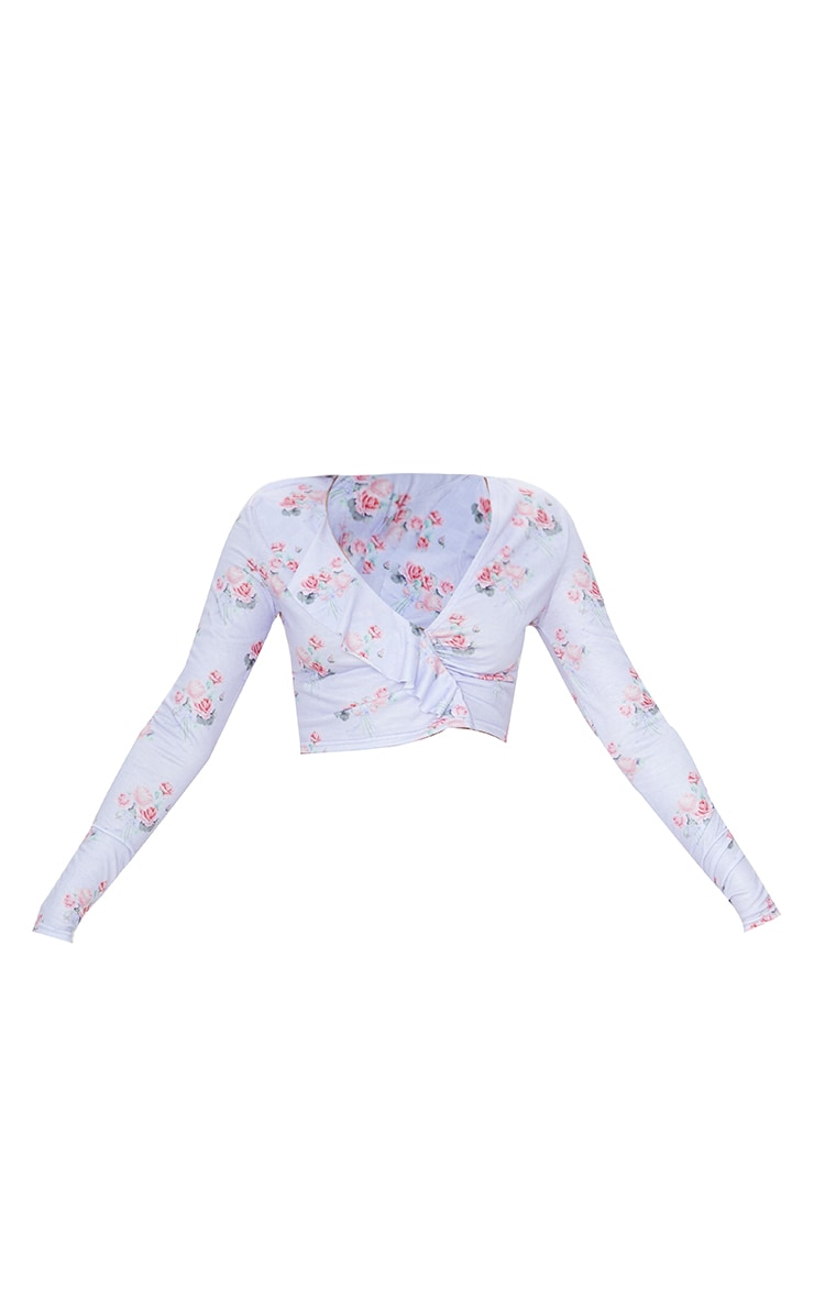 Lilac Floral Print Frill Panel Wrap Front Long Sleeve Top 5