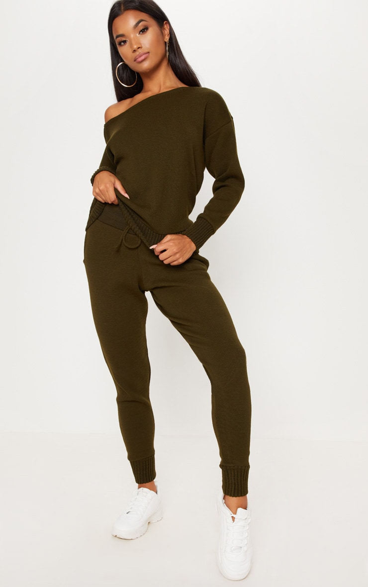 Auriel Khaki Jogger Jumper Knitted Lounge Set 1