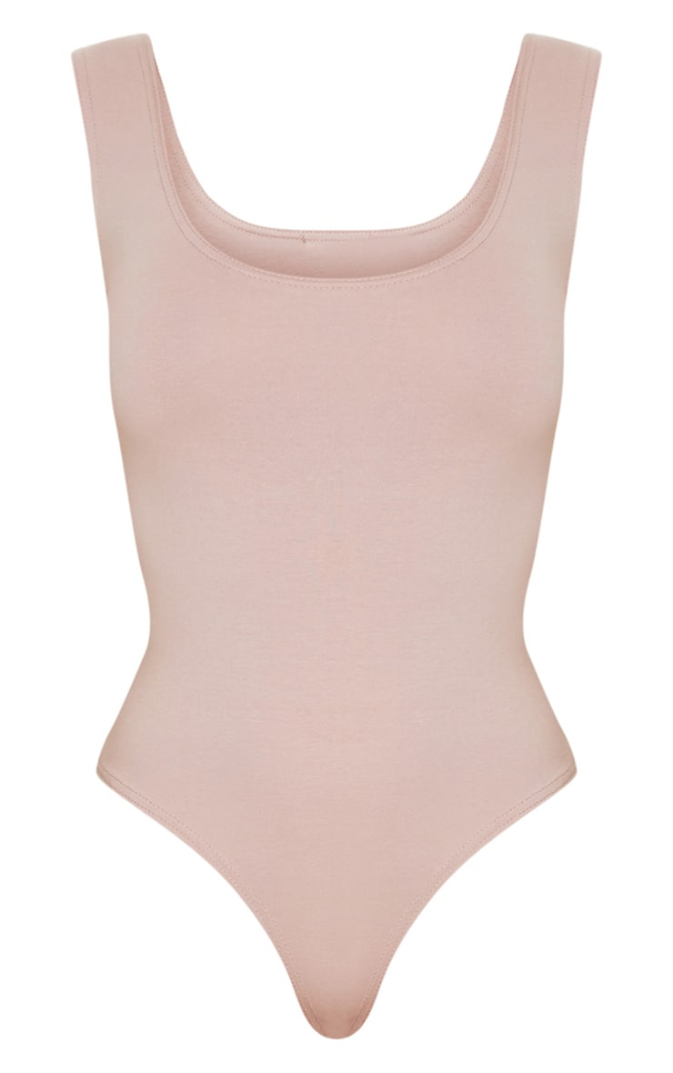 Dusty Pink Cotton Stretch Scoop Neck Thong Bodysuit 3