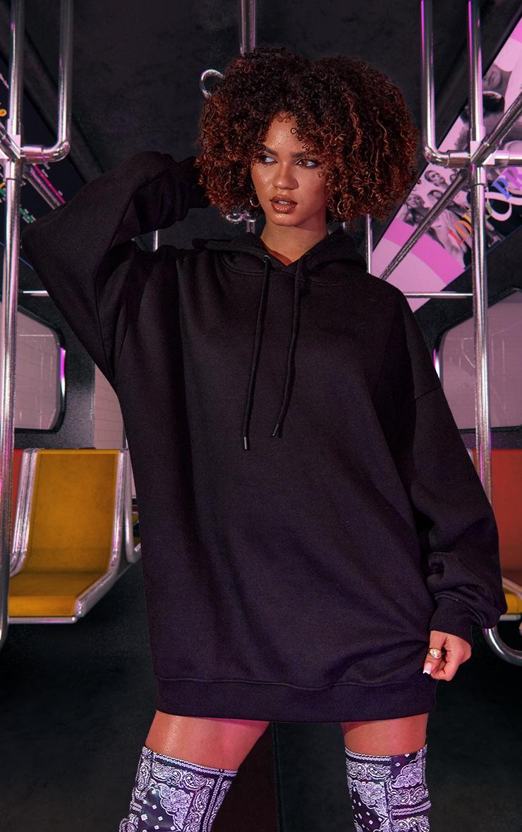 Black Oversized Hoodie Jumper Dress 2