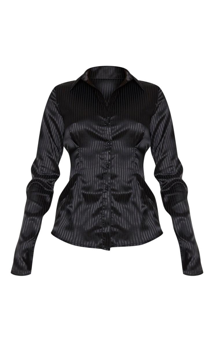 Tall Black Stripe Satin Button Up Button Shirt 3