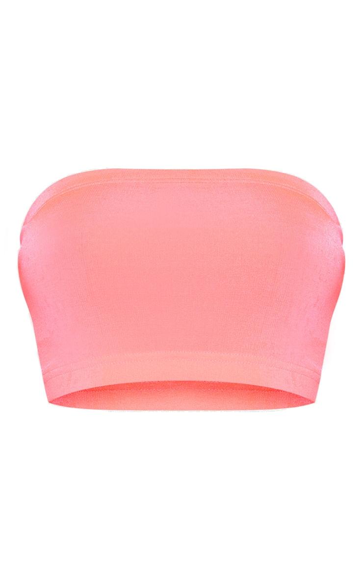 Shape Pink Slinky Neon Bandeau Crop Top  3