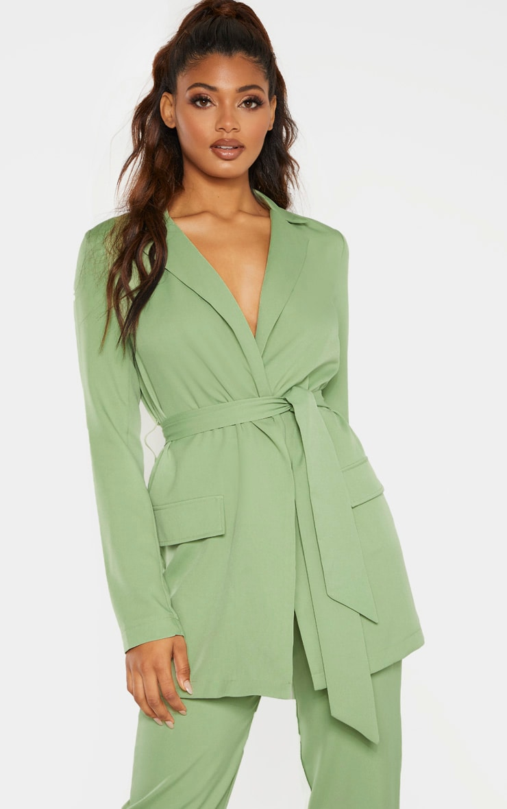 Tall Sage Green Tied Waist Suit Jacket 1