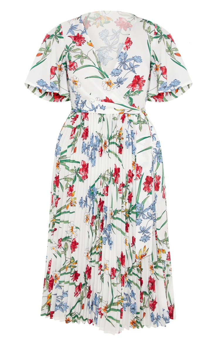 White Floral Pleated Midi Dress 3