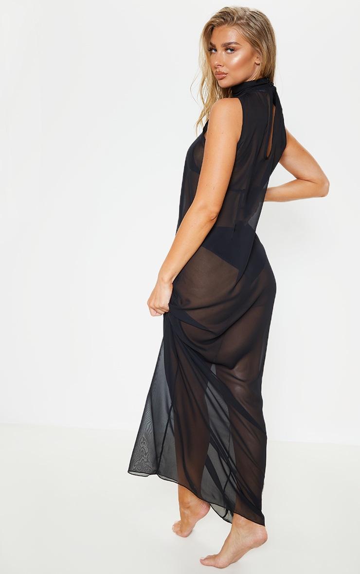 Black High Neck Oversized Maxi Beach Dress 2