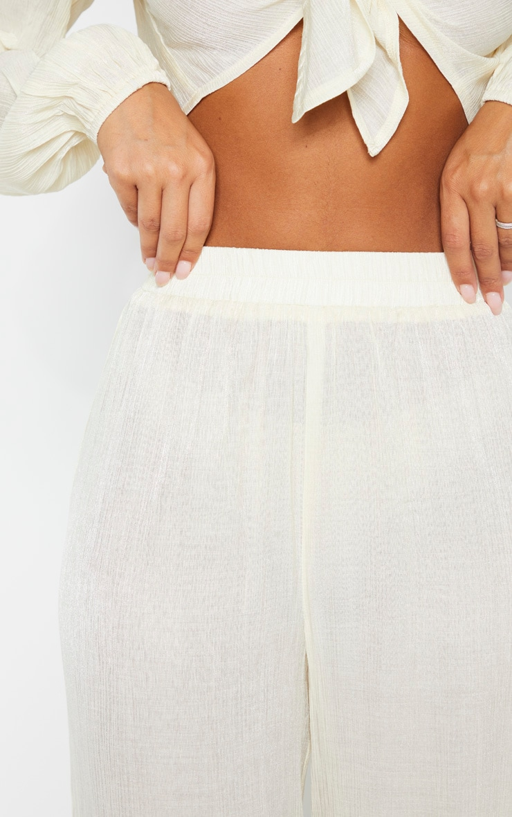 Cream Textured Wide Leg Pants 5