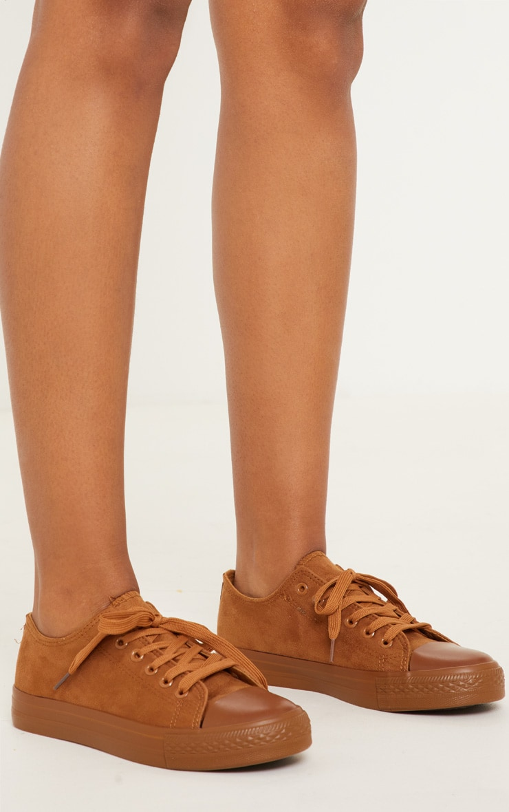Camel Faux Suede Lace Up Sneakers 2