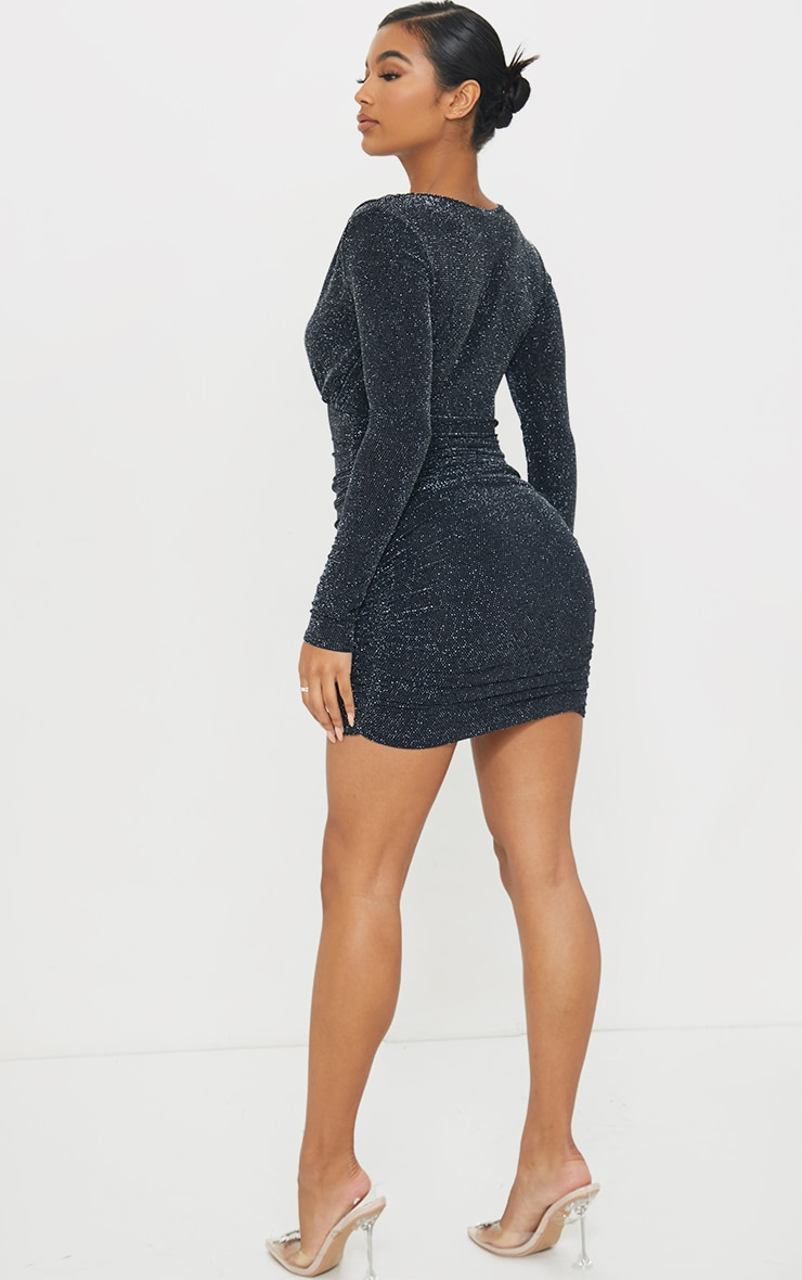 Black Textured Glitter Plunge Ruched Long Sleeve Bodycon Dress 2