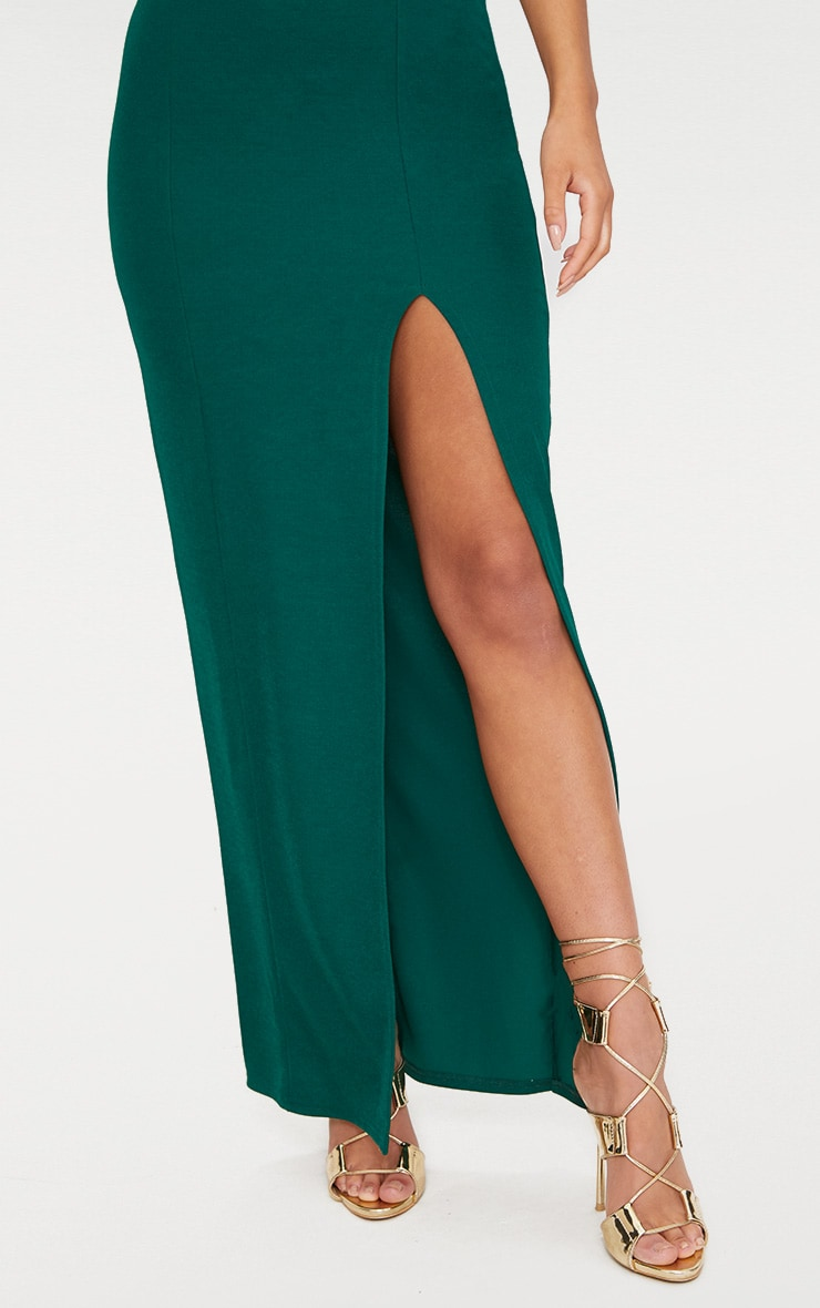 Emerald Green Bandeau Folded Detail Extreme Split Maxi Dress  5