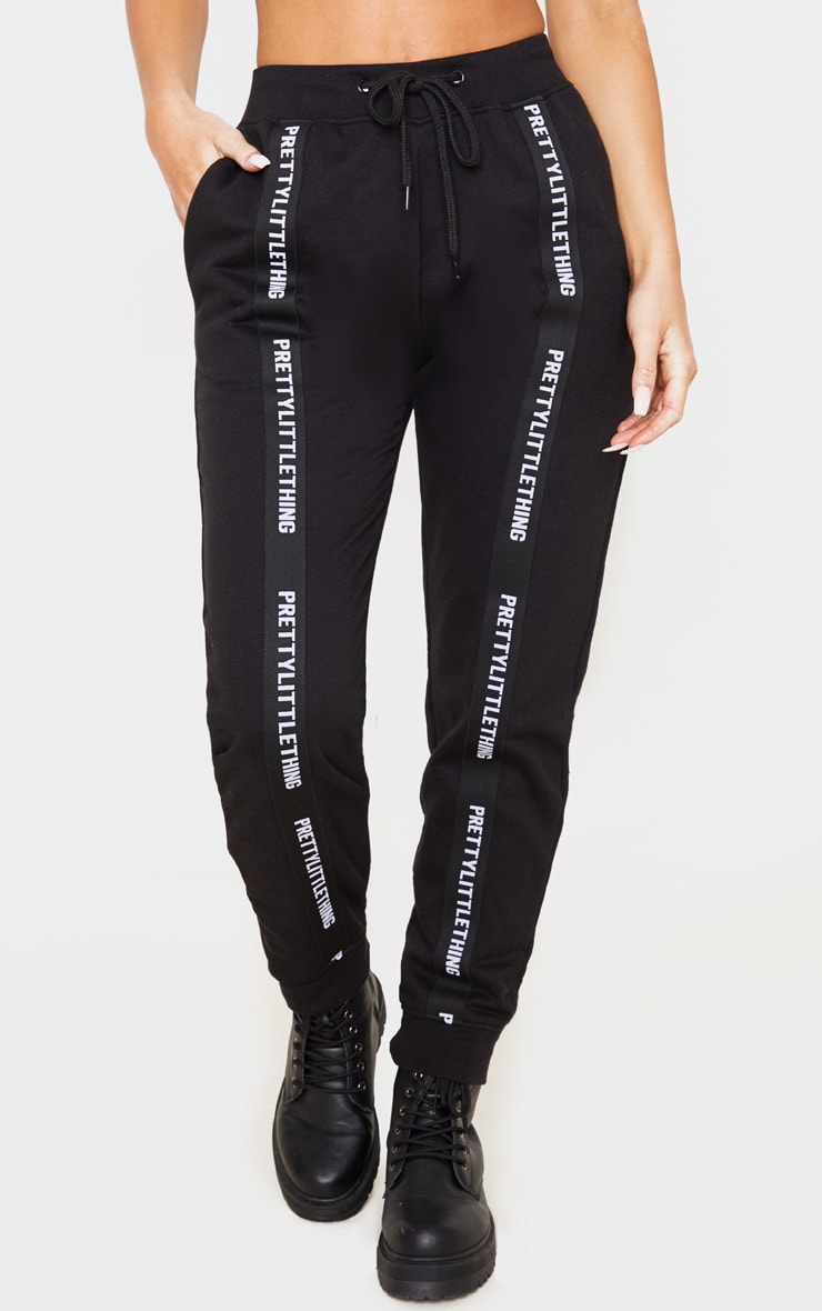 PRETTYLITTLETHING Black Tape Detail Jogger 2