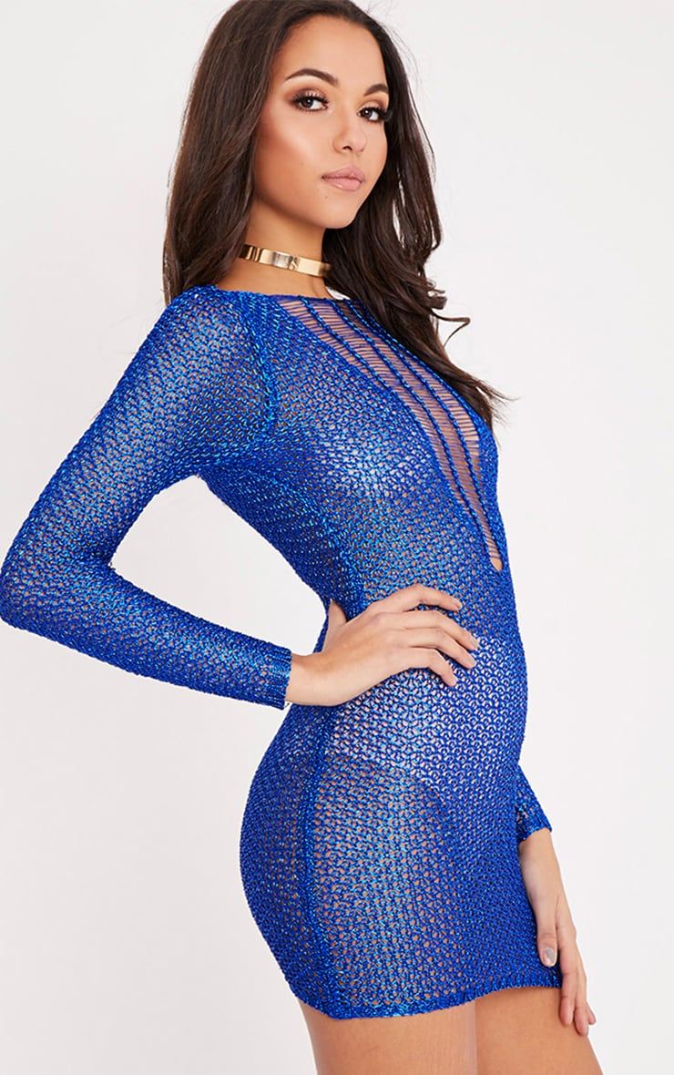 Petite Kay robe mini bleue métallisé maille échelle 4