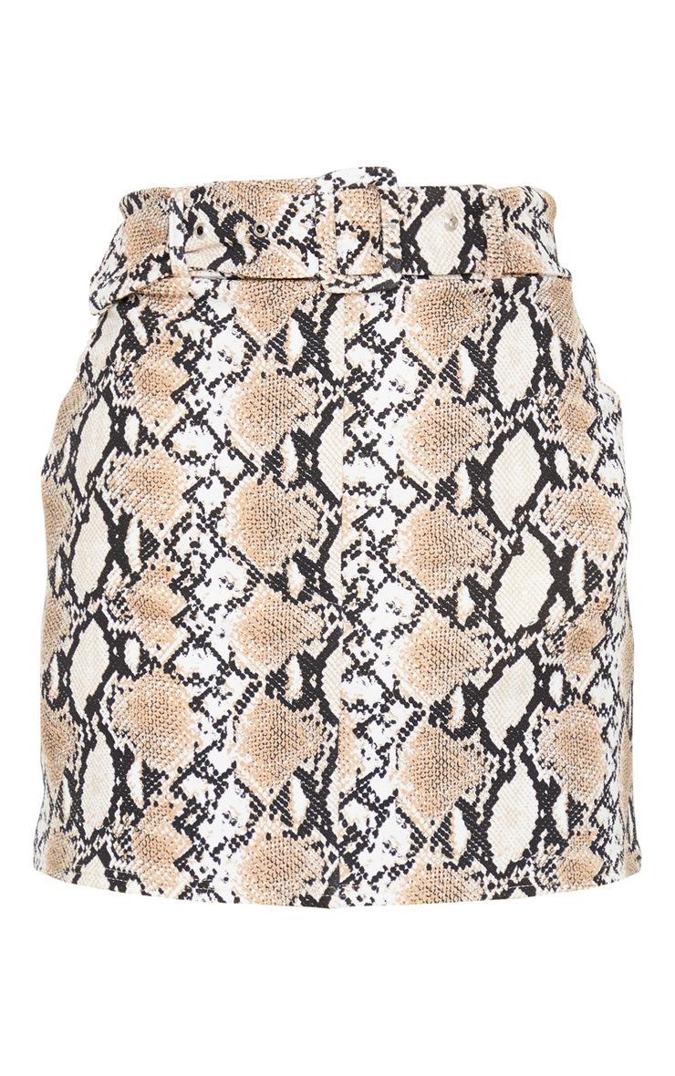 Stone Snake Print Belted Mini Skirt 3