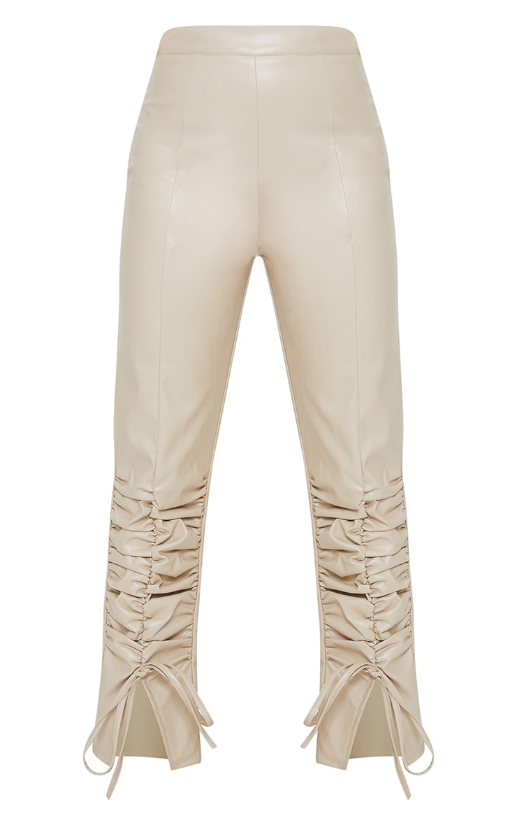Petite Stone Ruched Hem PU Pants 5