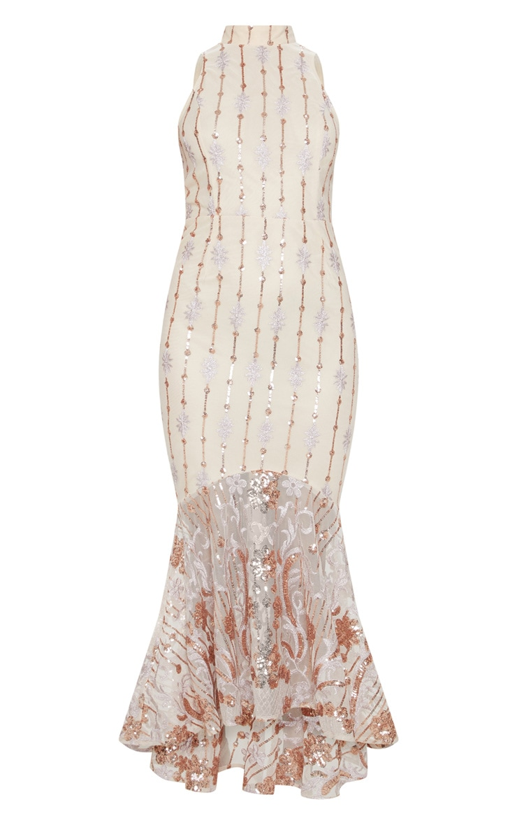 Rose Gold Sequin High Neck Fishtail Midaxi Dress 4