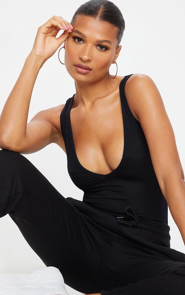 Basic Black Cotton Blend Plunge Sleeveless Bodysuit 1