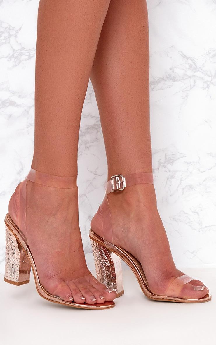 PRETTYLITTLETHING Rose Clear Strap Ornate Heels ptEnn0R