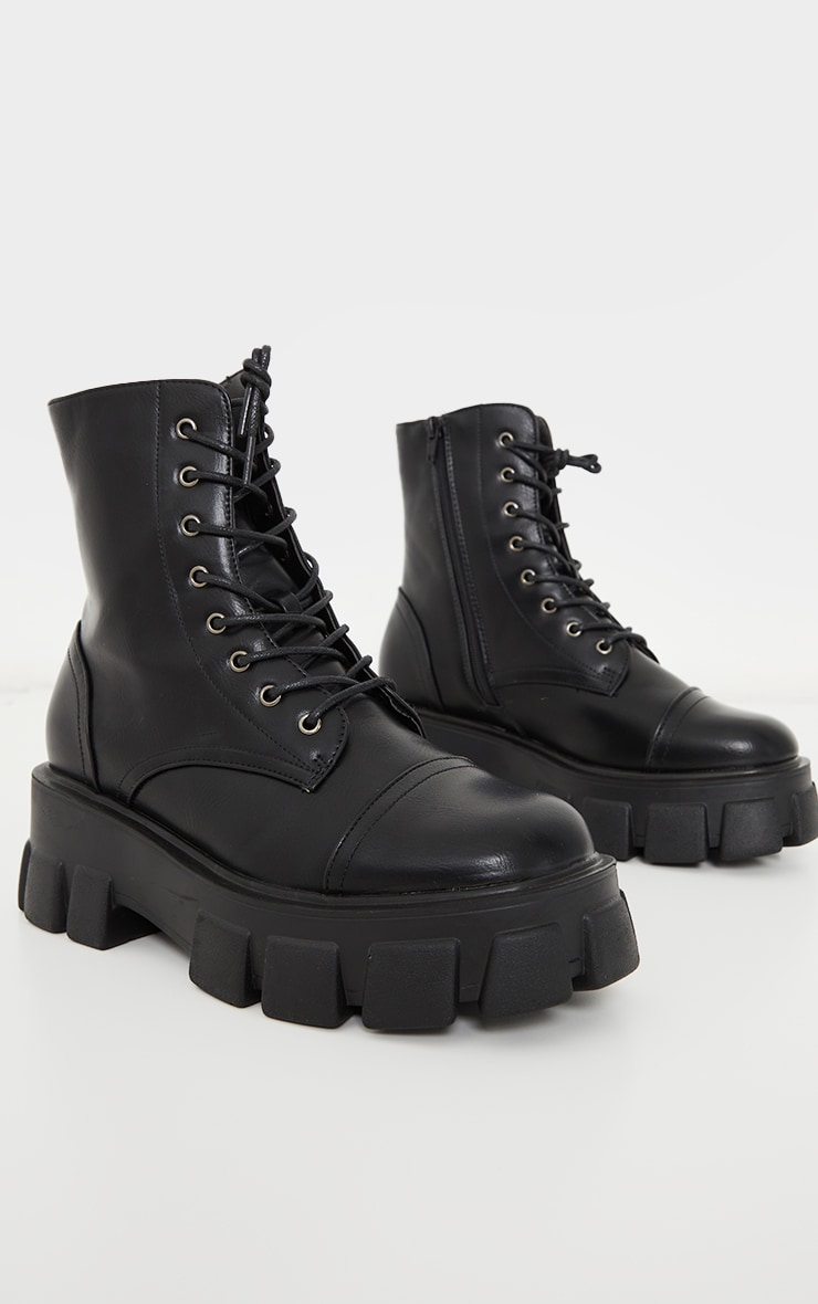 Black Wide Fit PU Extreme Cleated Chunky Lace Up Boots 3