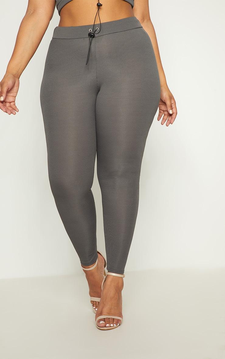 Plus Charcoal Ribbed Leggings 2