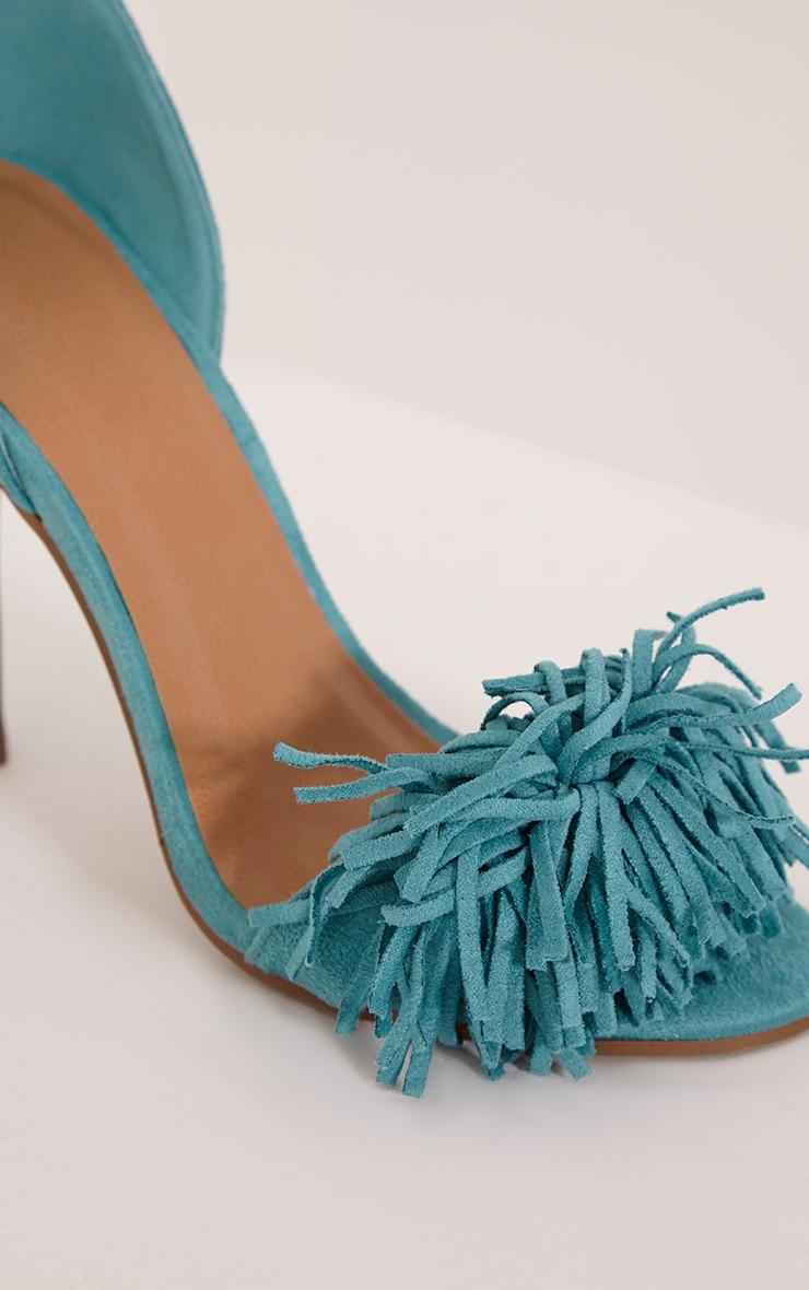 Bena Mint Faux Suede Fringe Sandals 5