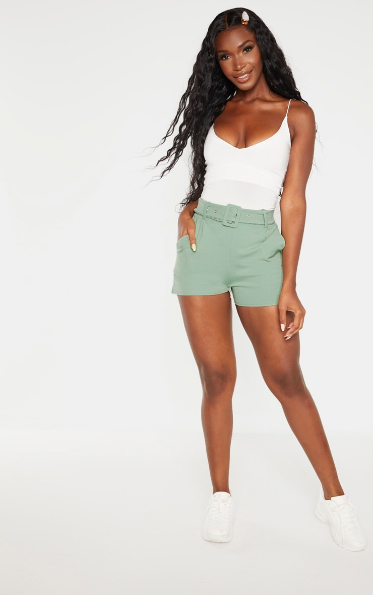 Sage Green Belted Tailored Short  5
