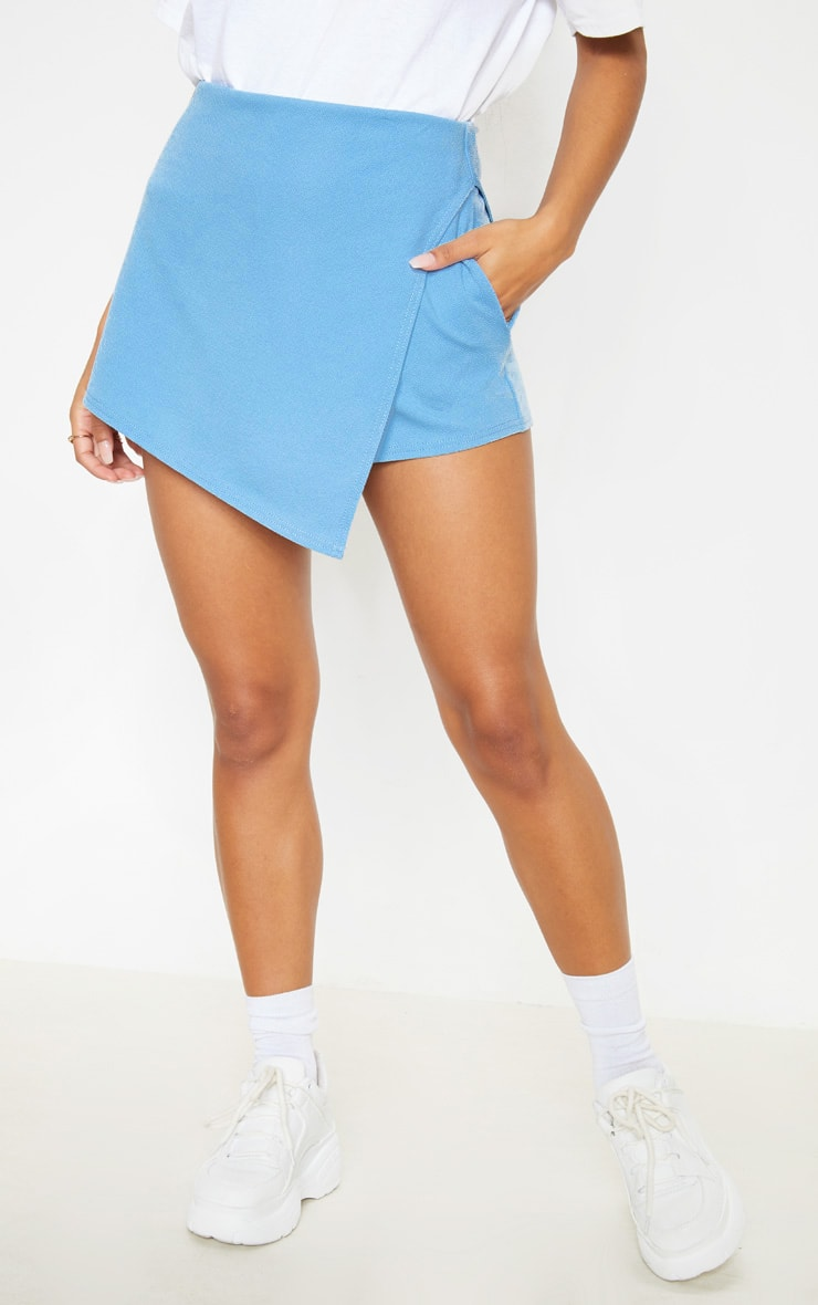 Dusty Blue Pocket Detail Wrap Over Skort  2