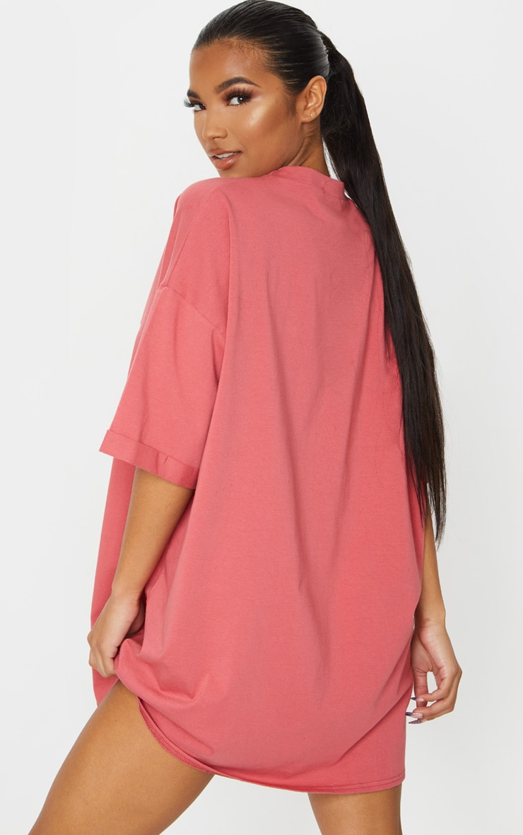 Recycled Washed Red Boyfriend Oversized T Shirt Dress 2