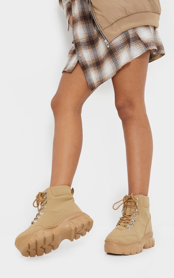 Sand Wide Fit Flatform Chunky Hiker Boots 2