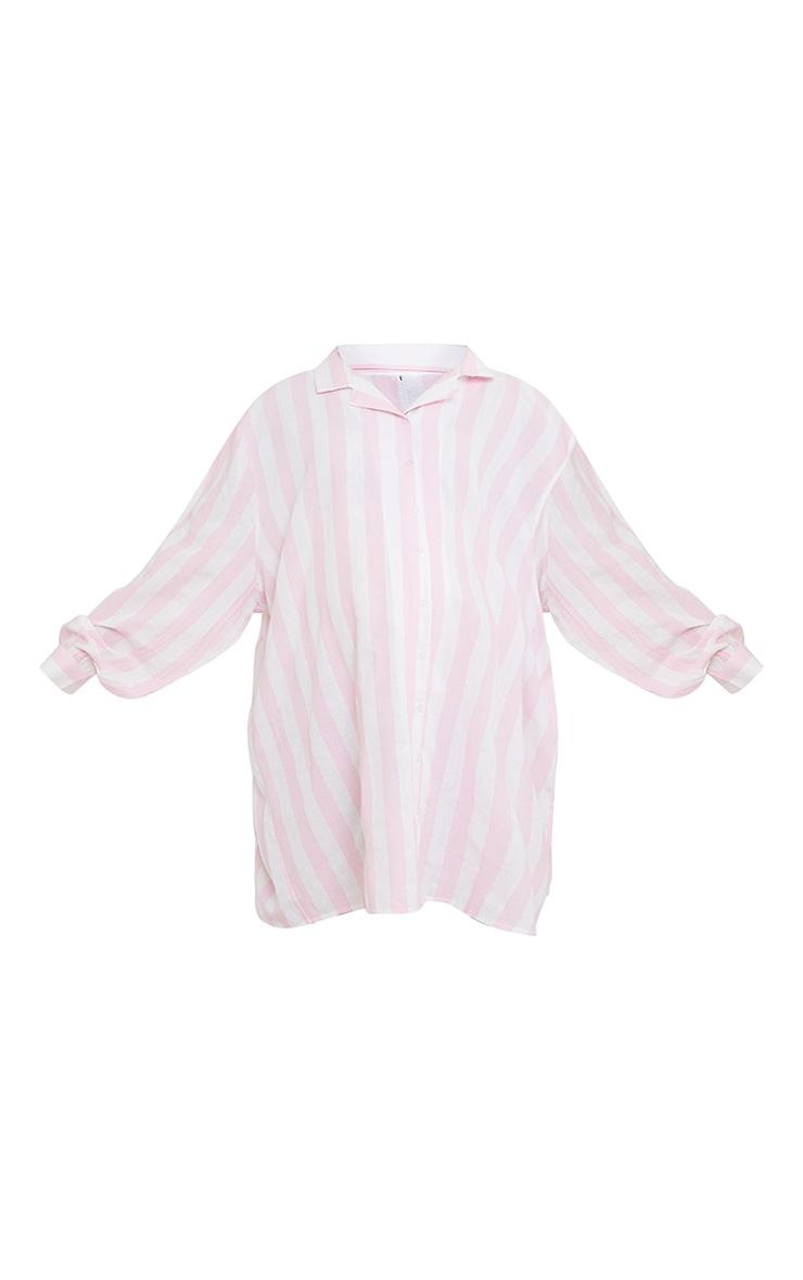 Maternity Pink Oversized Stripe Night Shirt  5