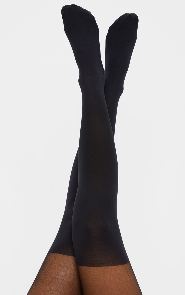 Black Plain Suspender Effect Tights 1