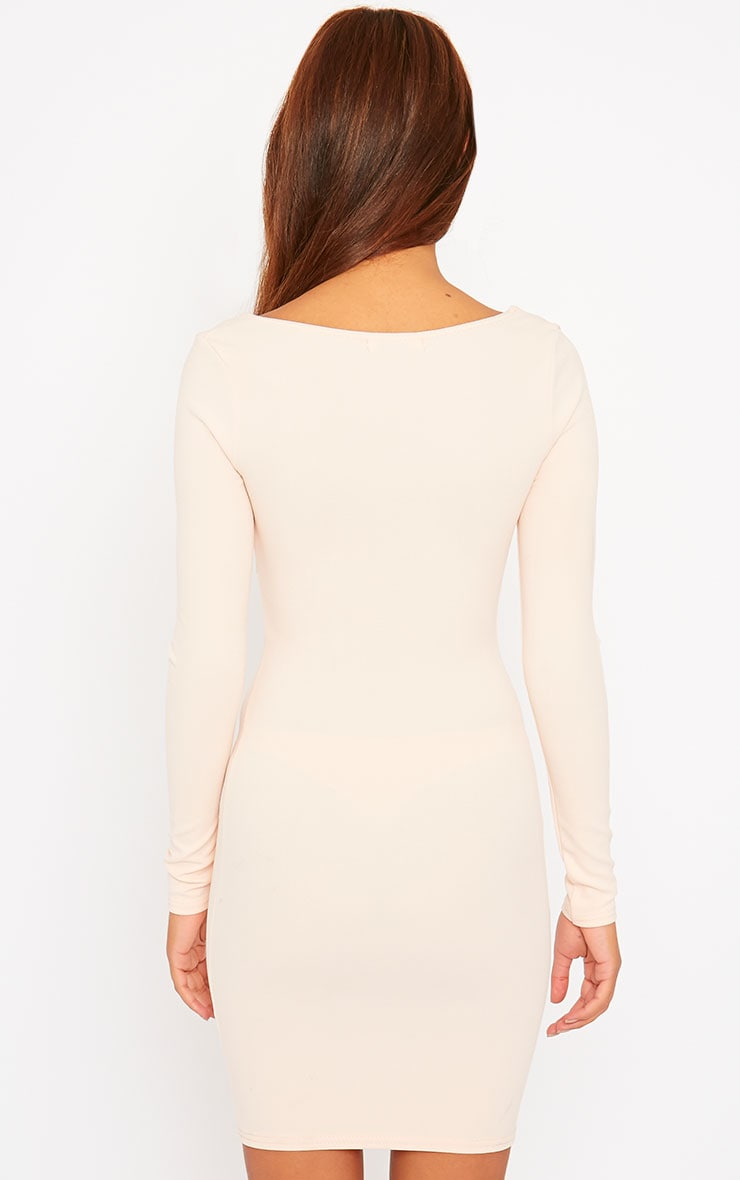 Roz Nude Plunge Mini Dress 2