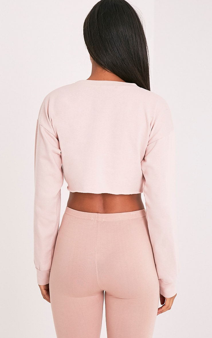 Beau Pink Cut Off Crop Longsleeve Sweater 4