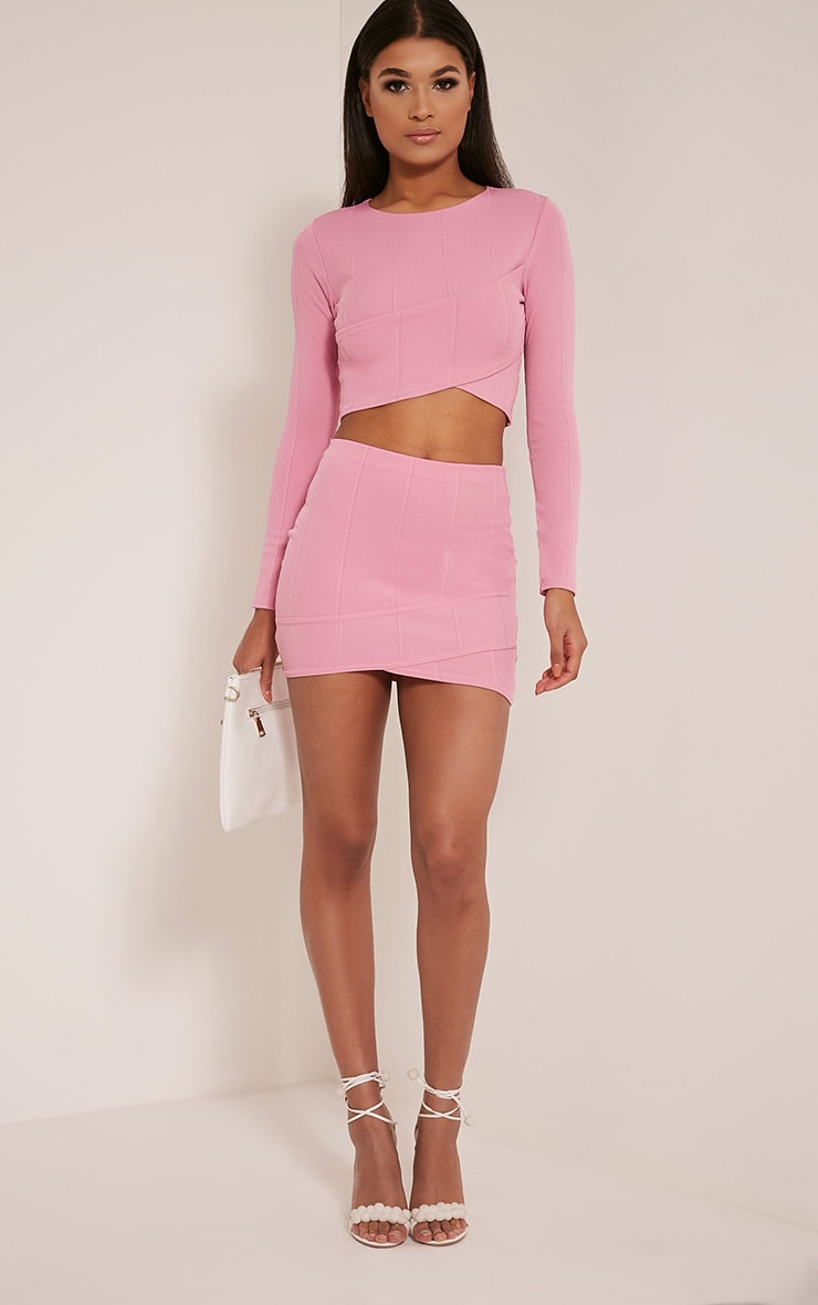 Alena Bubblegum Pink Cross Front Bandage Mini Skirt 6