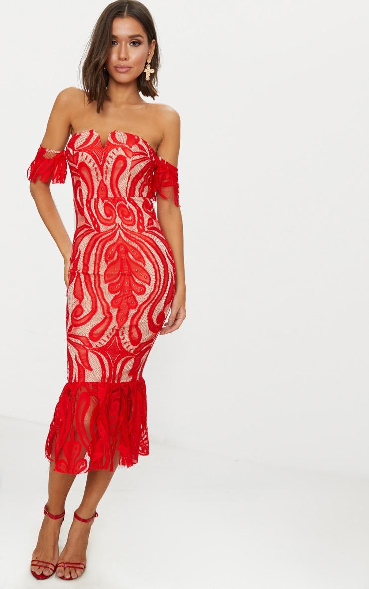 red-bardot-lace-frill-hem-midi-dress by prettylittlething