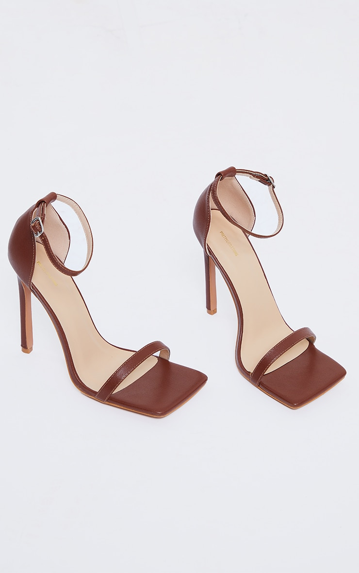 Tan WIDE FIT PU Barely There Strappy Heeled Sandals 3