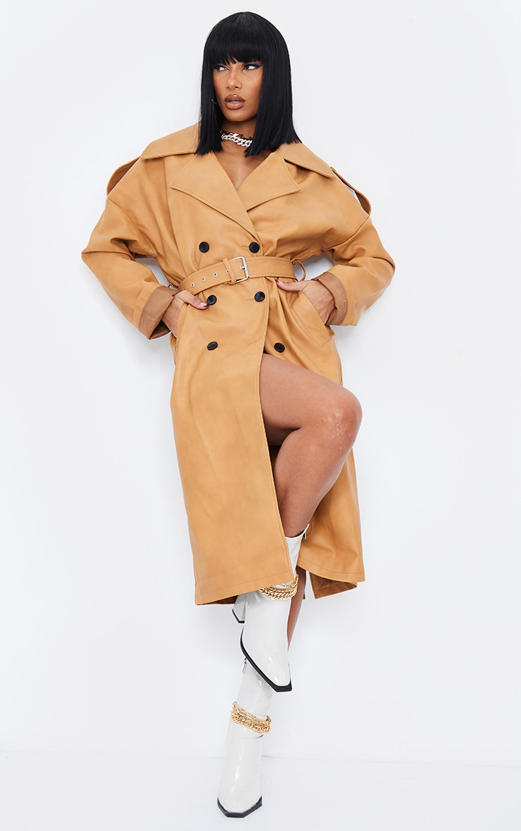 Camel Faux Leather Drop Arm Midi Trench 1