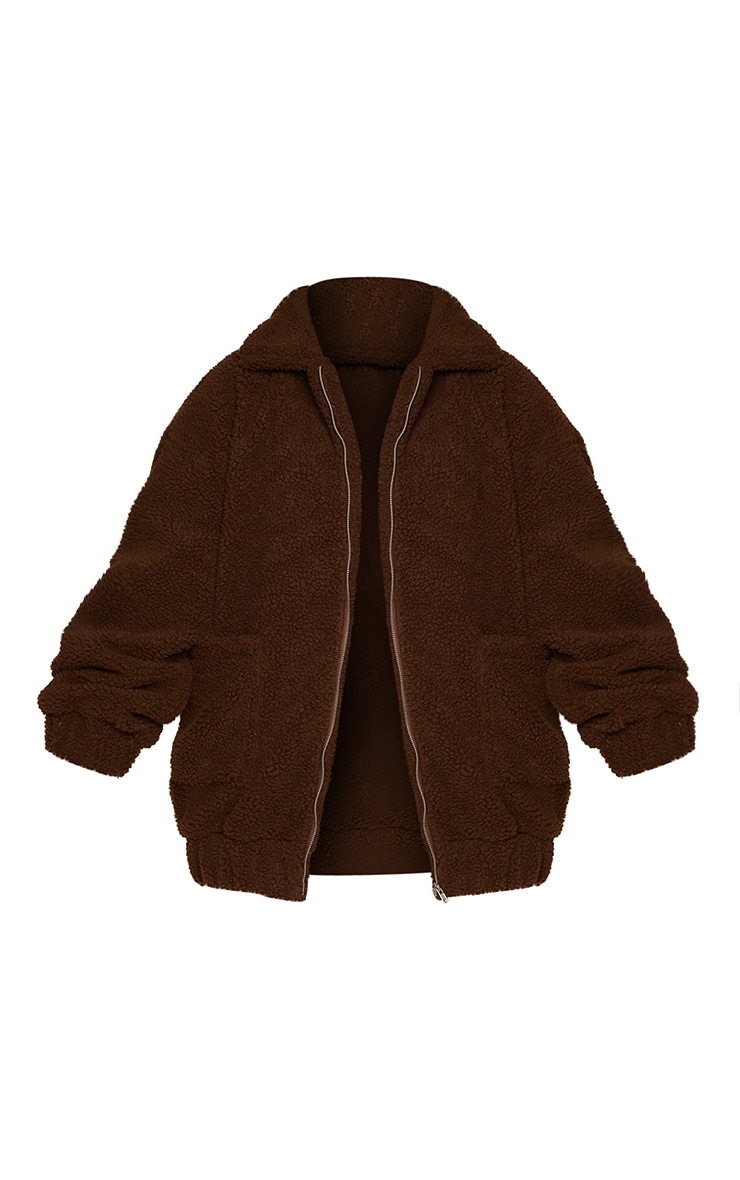 Plus Chocolate Brown Oversized Borg Pocket Front Coat 5