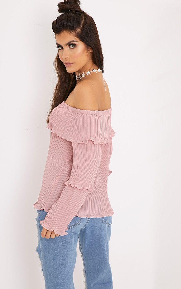 Carly Pink Pleated Bardot Frill Sleeve Blouse 2