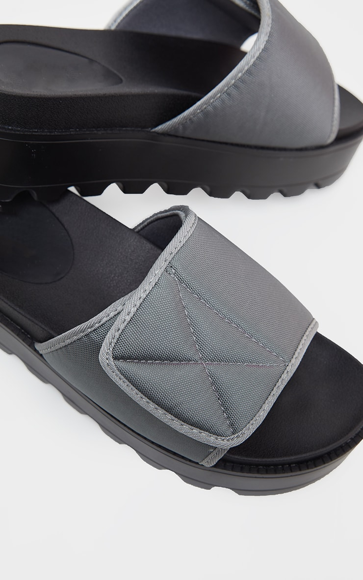 Grey Velcro Strap Flatform Slider 4