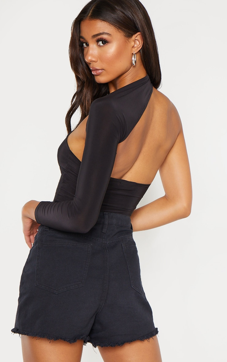Black One Shoulder Asymmetric Long Sleeve Crop Top 2