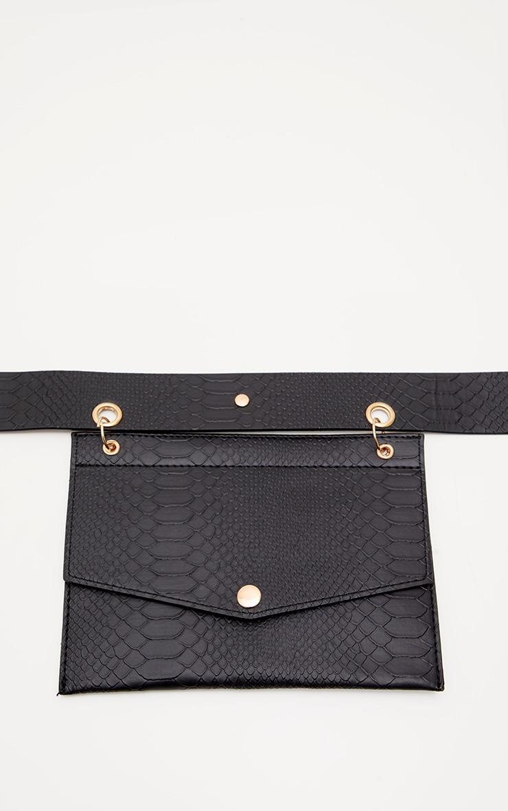 Black Croc Envelope Belted Bum Bag 2