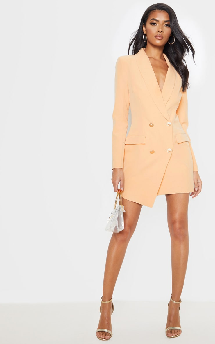 Nude Gold Button Blazer Dress 4