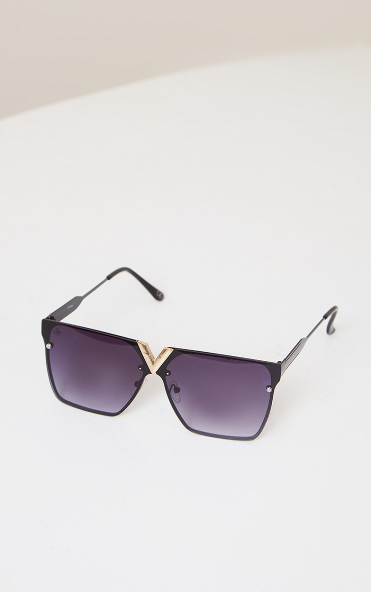 Jeepers Peepers Black Cut Out Trim Square Frame Sunglasses 1