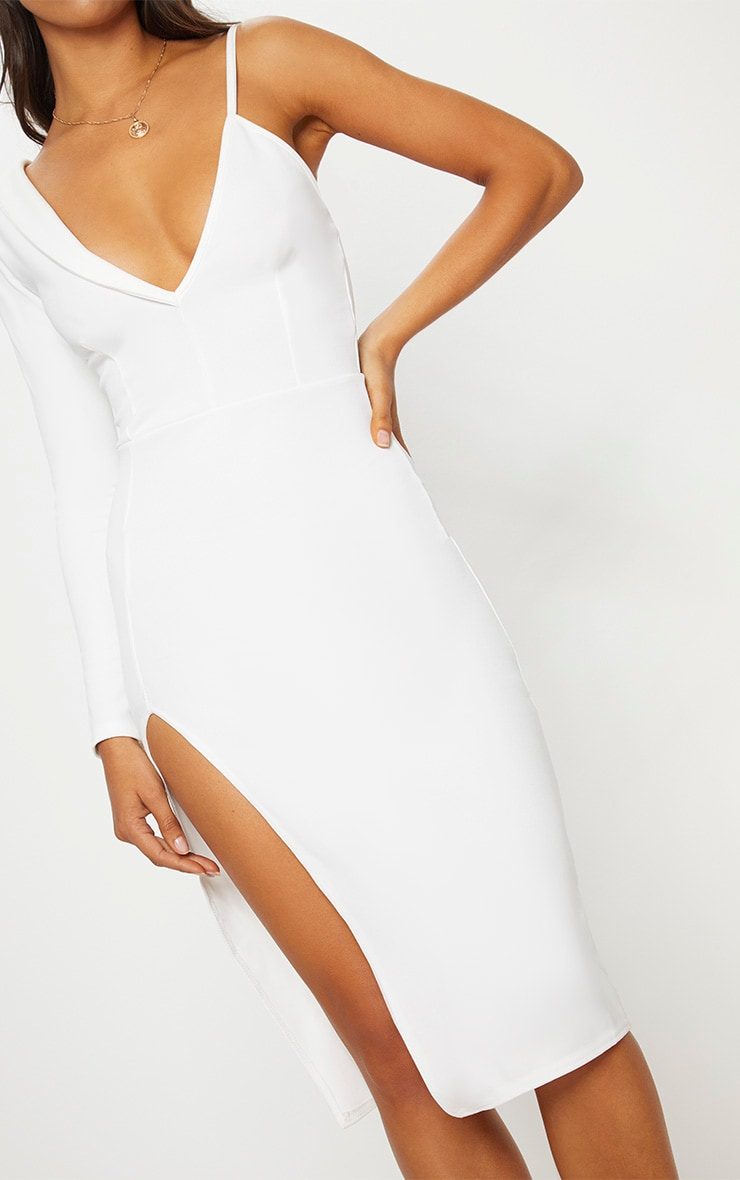 White Asymmetric Tux Style Split Leg Midi Dress 5