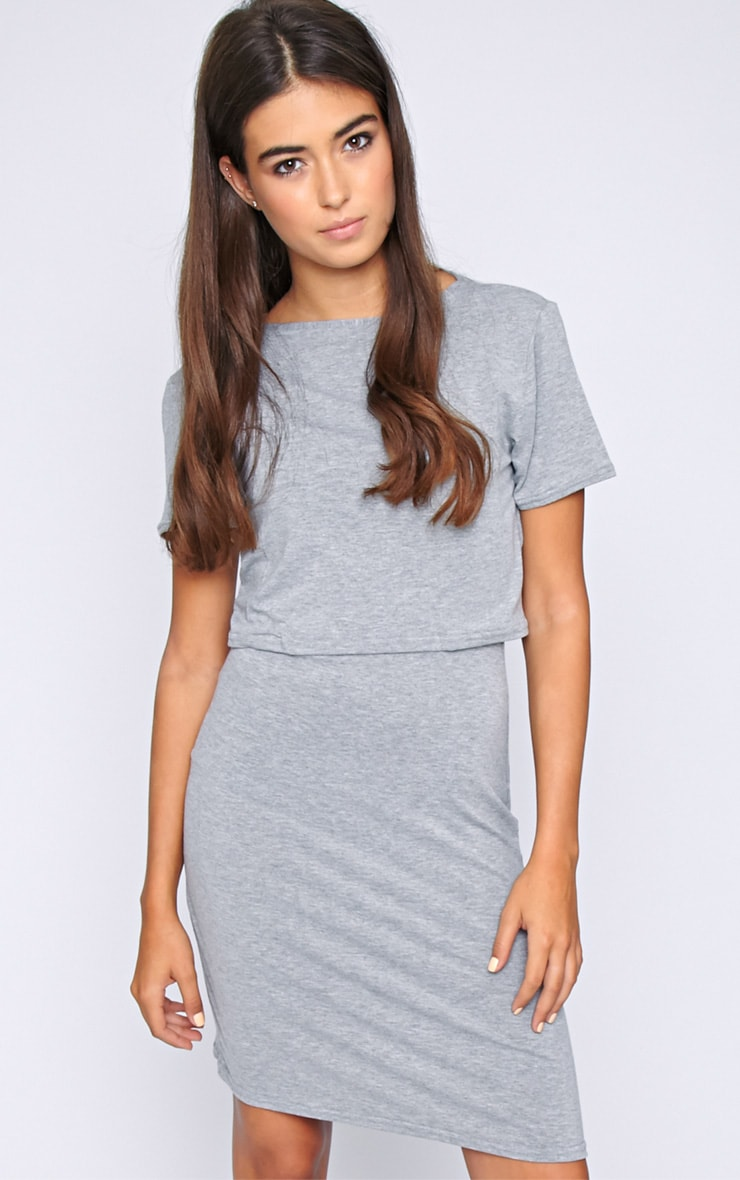 Fran Grey Layered Tshirt Dress with Open Back  3