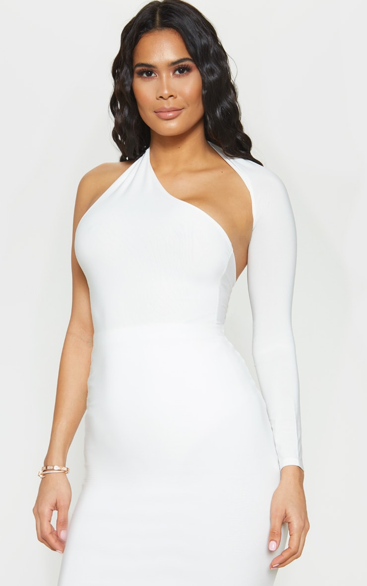 White One Shoulder Asymmetric Bodysuit 2