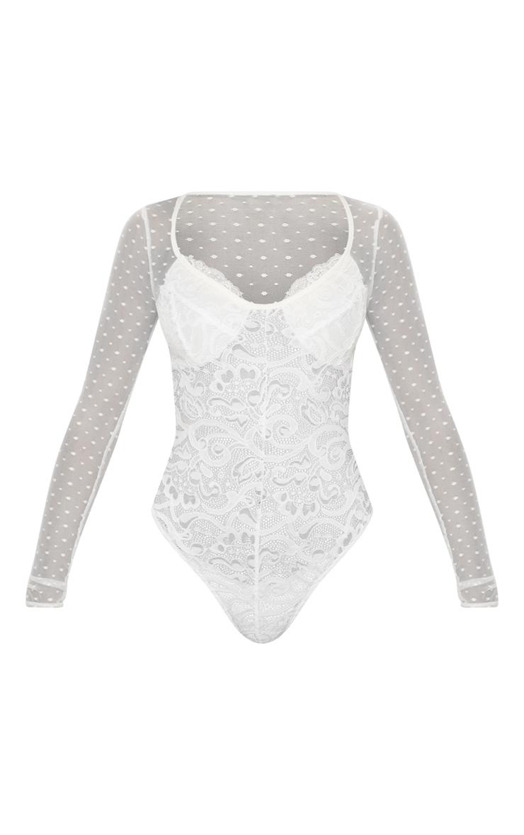 White Long Sleeve Lace Mesh Bodysuit 3
