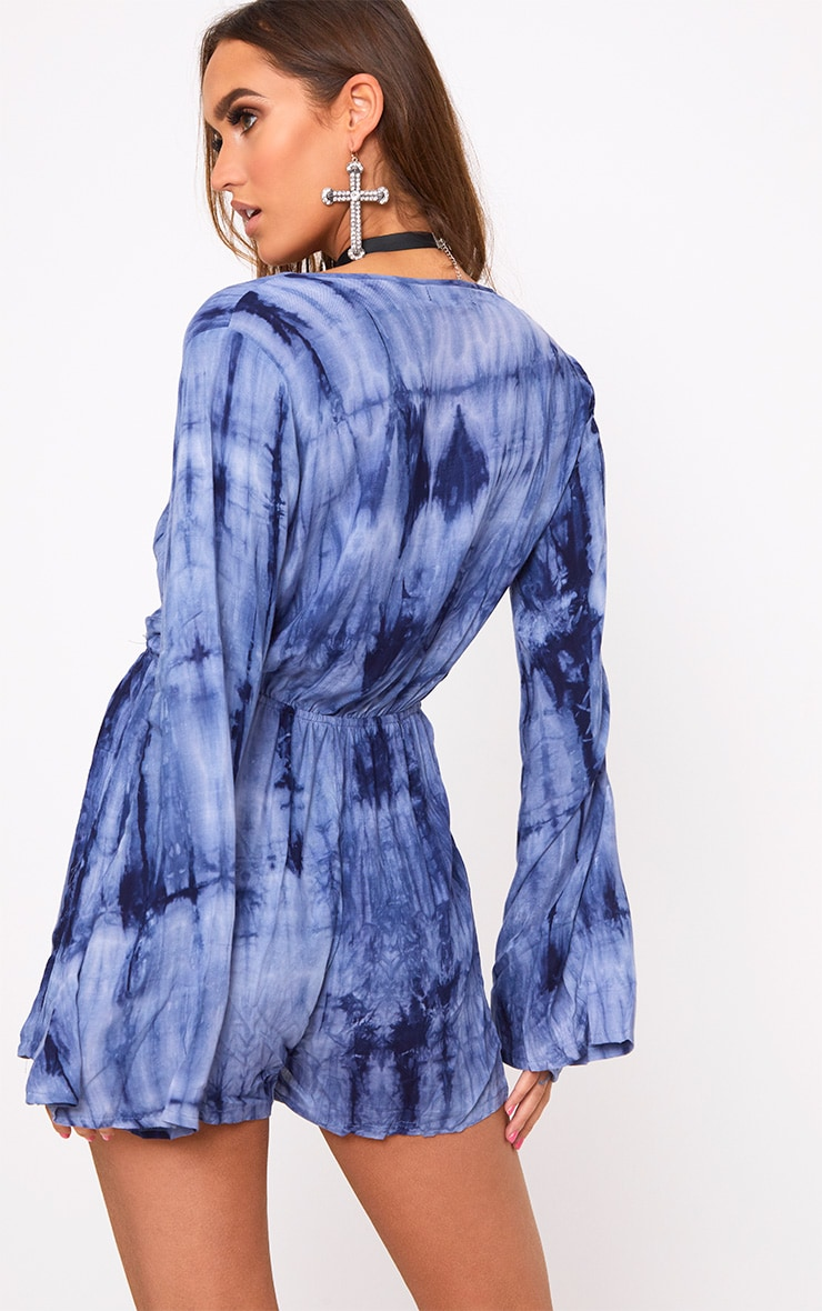 Esmey Blue Tie Dye Wrap Playsuit  2